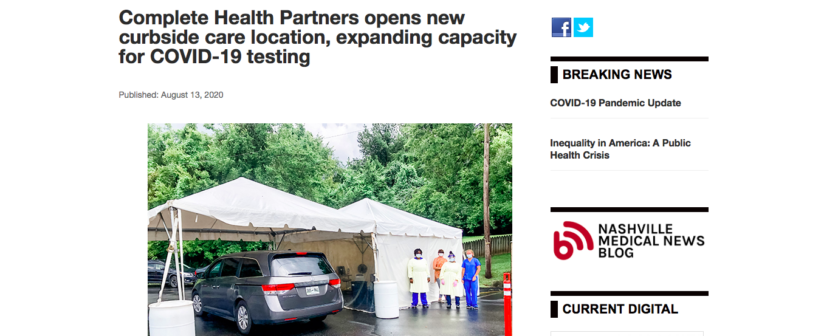 Complete Health Partners opens new curbside care location, expanding capacity for COVID-19 testing